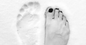 foot in snow